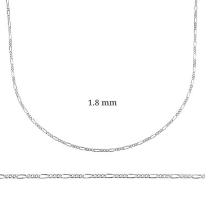 Gumush - 1.8 mm Gümüş Figaro Zincir - 0.50 mikron