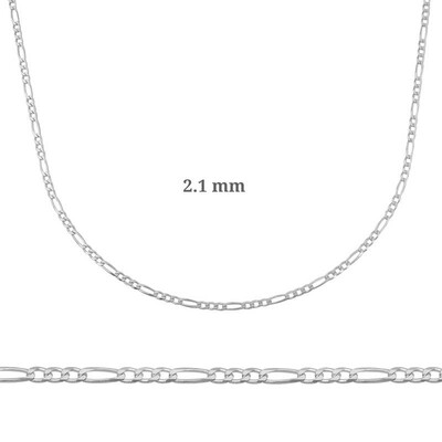 Gumush - 2.1 mm Gümüş Figaro Zincir - 0.60 mikron