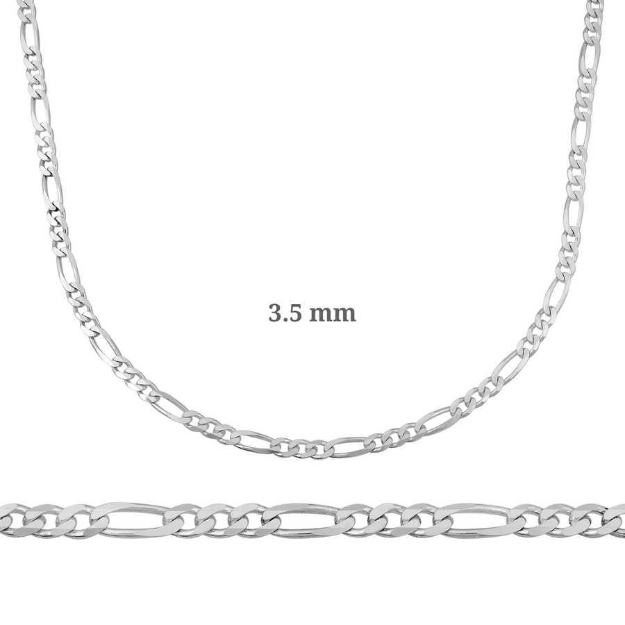 3.5 mm Gümüş Figaro Zincir - 100 mikron