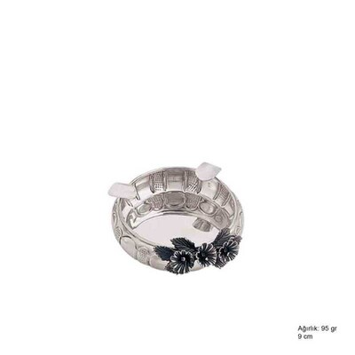 Tekbir Silver - 925 Ayar Gümüş Çiçek Desenli Küllük