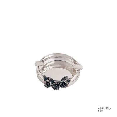 Tekbir Silver - 925 Ayar Gümüş Çiçek Motifli Küllük