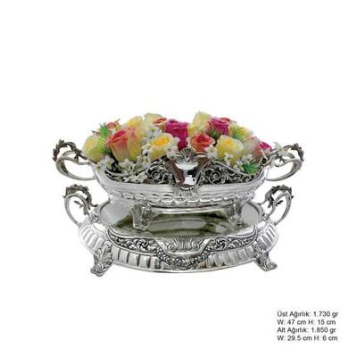 Tekbir Silver - 925 Ayar Gümüş Çiçekli Jardinyer