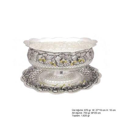 Tekbir Silver - Arı Desenli Oval Gümüş Boller