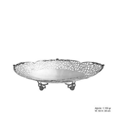 Tekbir Silver - Çiçek Motifli Gümüş Çikolatalık