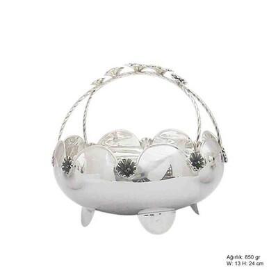 Tekbir Silver - Çiçek Motifli Gümüş Sepet