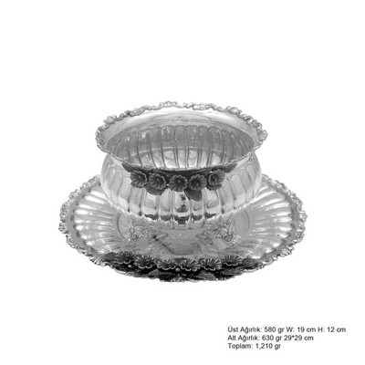 Tekbir Silver - Frezya Çiçek Desenli Gümüş Boller