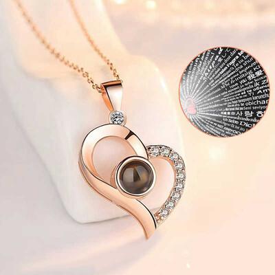 Tekbir Silver - Gümüş 100 Dilde Seni Seviyorum Kalp Kolye (1)