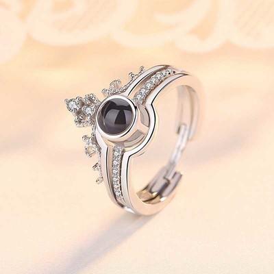Tekbir Silver - Gümüş 100 Dilde Seni Seviyorum Taç Yüzük