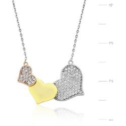 Tekbir Silver - Gümüş 3 Kalpli Bayan Kolye