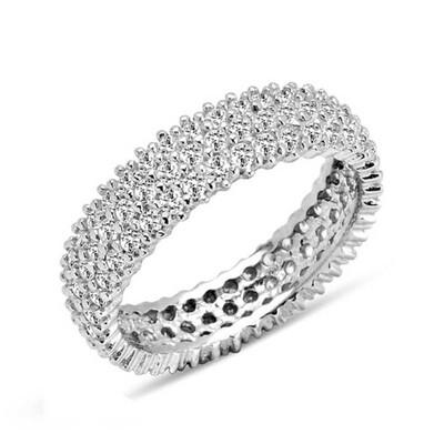 Tekbir Silver - Gümüş 3 Sıra Beyaz Tamtur Bayan Alyans Yüzük