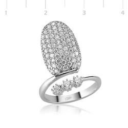 Tekbir Silver - Gümüş 3 Taş Tırnak Yüzük