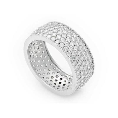 Tekbir Silver - Gümüş 5 Sıra Beyaz Tamtur Bayan Alyans Yüzük