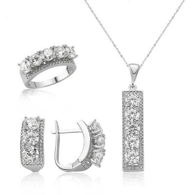 Tekbir Silver - Gümüş 5 Taş Bayan Set