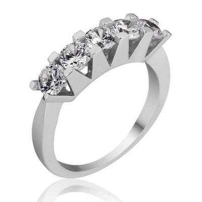 Tekbir Silver - Gümüş 5 Taş Bayan Yüzük