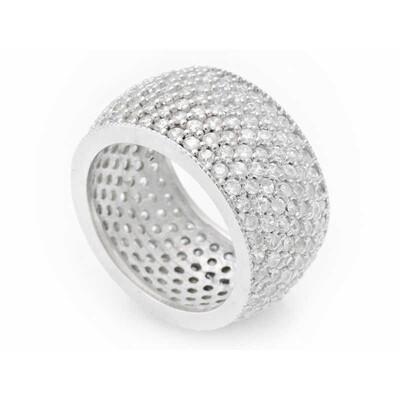 Tekbir Silver - Gümüş 7 Sıra Beyaz Tamtur Bayan Alyans Yüzük