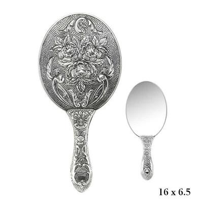 Tekbir Silver - Gümüş 925 Ayar Gül Desenli El Aynası