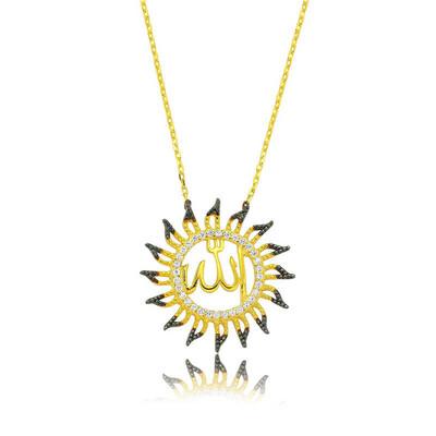 Tekbir Silver - Gümüş Allah Yazılı Güneş Bayan Kolye