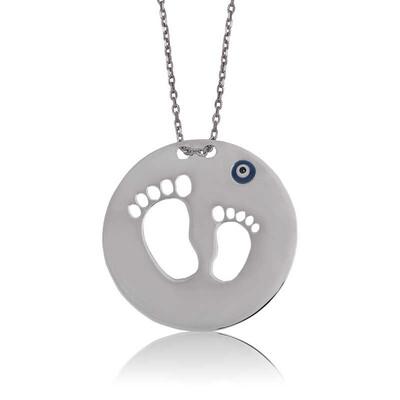 Tekbir Silver - Gümüş Anne Bebek Ayak İzi Bayan Kolye