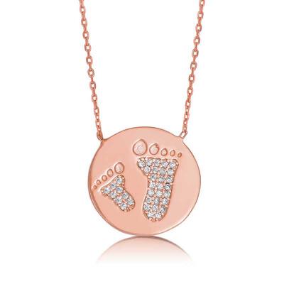 Tekbir Silver - Gümüş Anne Bebek Ayak İzi Plaka Kolye