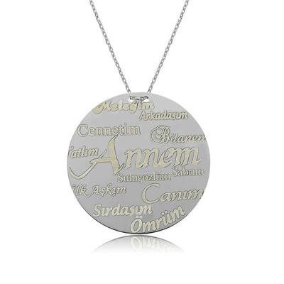 Tekbir Silver - Gümüş Annem Yazılı Plakalı Bayan Kolye