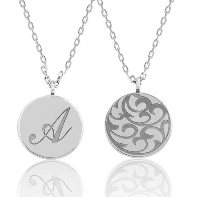 Tekbir Silver - Gümüş Arkası Desenli Harfli Plaka Kolye