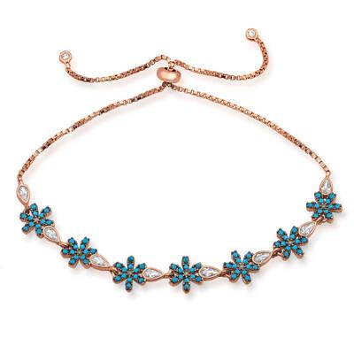 Tekbir Silver - Gümüş Asansörlü Mavi Çiçek Bileklik