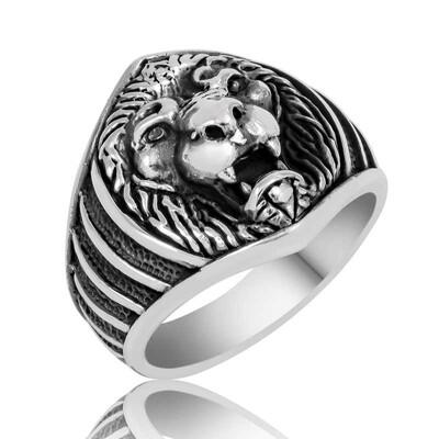 Tekbir Silver - Gümüş Aslan Figürlü Erkek Yüzük