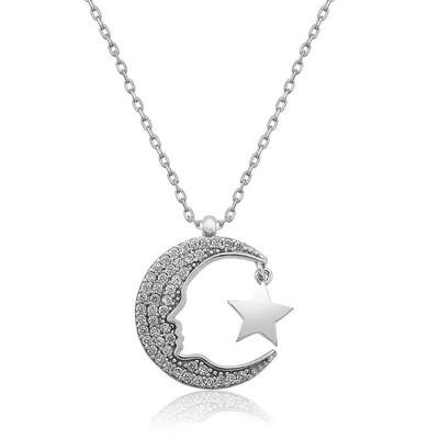 Tekbir Silver - Gümüş Atatürk Silüeti Ay Yıldız Bayan Kolye