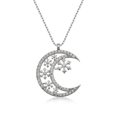 Tekbir Silver - Gümüş Ay Kar Tanesi Bayan Kolye
