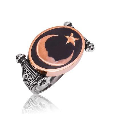 Tekbir Silver - Gümüş Ay Yıldız Atatürk Silüeti Erkek Yüzük