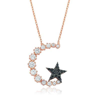 Tekbir Silver - Gümüş Ay Yıldız Bayan Kolye