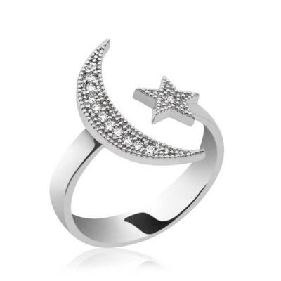 Tekbir Silver - Gümüş Ay Yıldız Bayan Yüzük