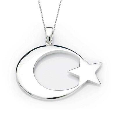Tekbir Silver - Gümüş Ay Yıldız Bayrak Kolye