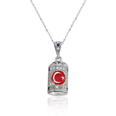 Tekbir Silver - Gümüş Ay Yıldız Cevşen Bayan Kolye