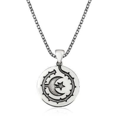 Gumush - Gümüş Ay Yıldız Erkek Kolye (1)