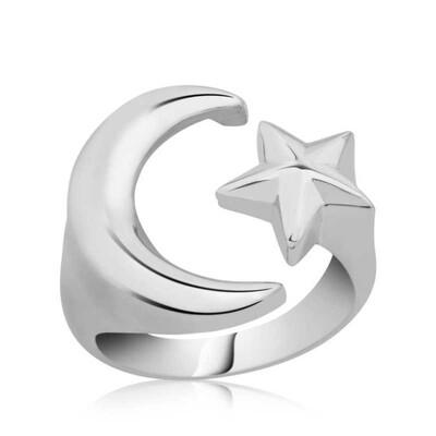 Tekbir Silver - Gümüş Ay Yıldız Yüzük