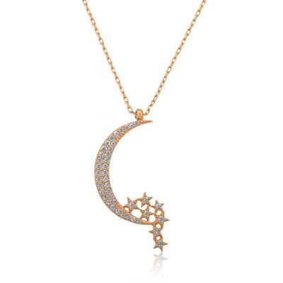 Tekbir Silver - Gümüş Ay Yıldızlı Bayan Kolye