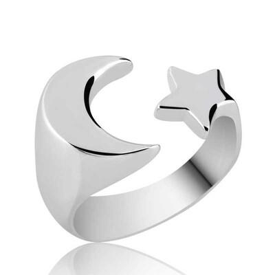 Tekbir Silver - Gümüş Ayarlanabilir Ay Yıldız Yüzük