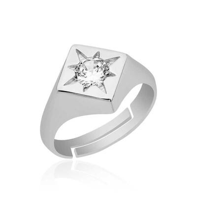 Gumush - Gümüş Ayarlanabilir Kutup Yıldızı Şovalye Yüzük