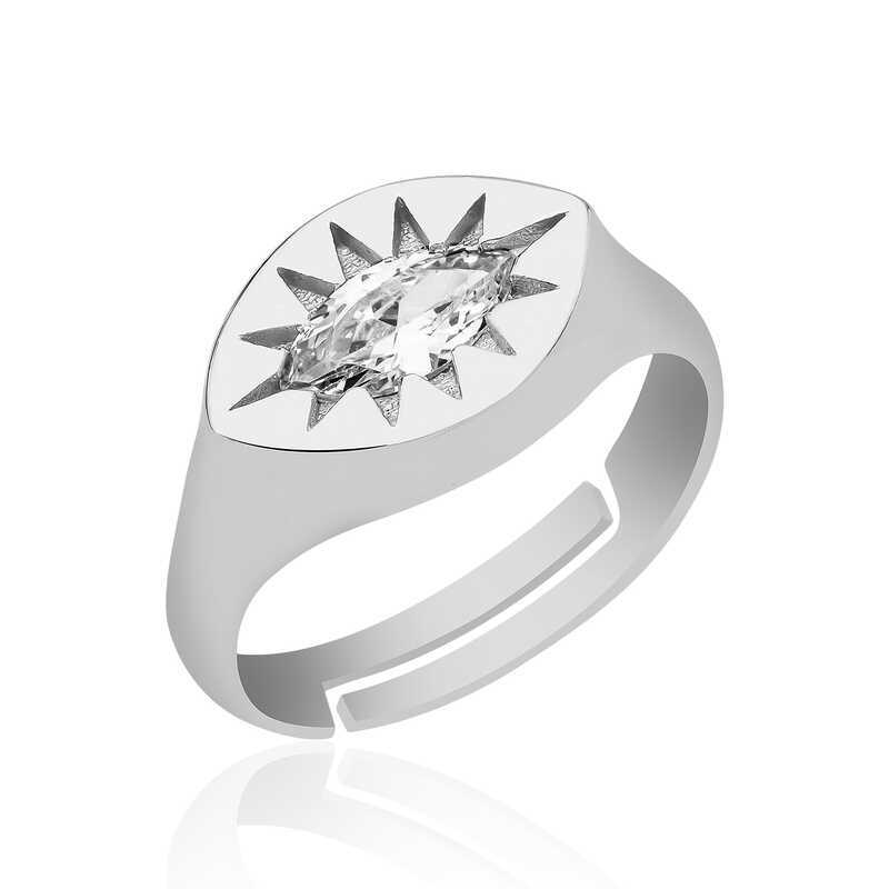 Gümüş Ayarlanabilir Kuzey Yıldızı Şovalye Yüzük