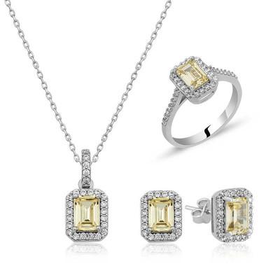 Tekbir Silver - Gümüş Baget Sarı Topaz Taşlı Bayan Set
