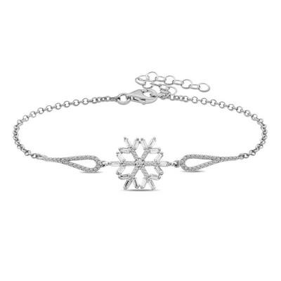 Gumush - Gümüş Baget Taşlı Kar Tanesi Bileklik