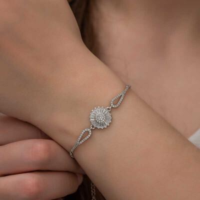 Gumush - Gümüş Baget Taşlı Sonsuzluk Bayan Bileklik (1)