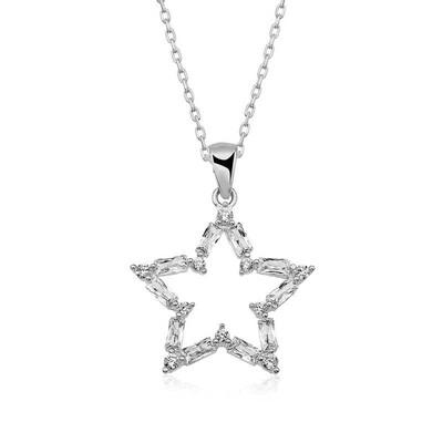 Gumush - Gümüş Baget Taşlı Yıldız Kolye