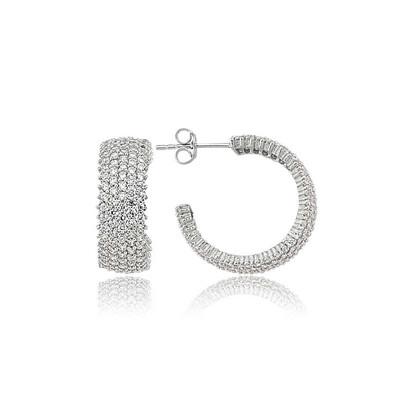 Tekbir Silver - Gümüş Beş Sıra Beyaz Tamtur Küpe