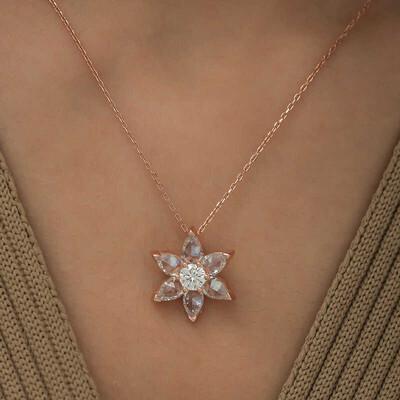 Gumush - Gümüş Beyaz Çiçek Kolye (1)
