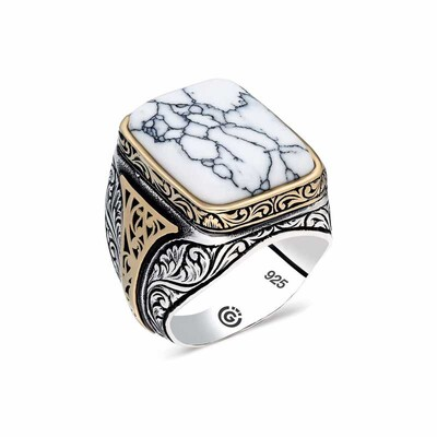 Gumush - Gümüş Beyaz Çizgili Havlit Taşlı Kare Erkek Yüzük