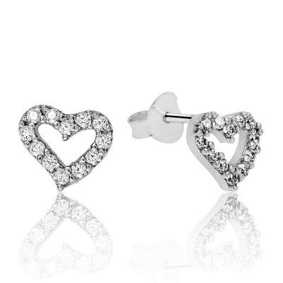 Tekbir Silver - Gümüş Beyaz Kalpli Çivili Küpe