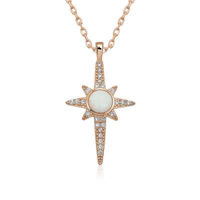 Gumush - Gümüş Beyaz Opal Taşlı Kuzey Yıldızı Kolye