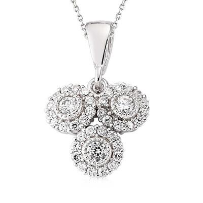 Tekbir Silver - Gümüş Beyaz Taşlı Bayan Kolye